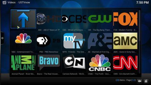 Configuration des chaînes USTVNow Kodi Addon - Extensions de football dans les collèges de Kodi