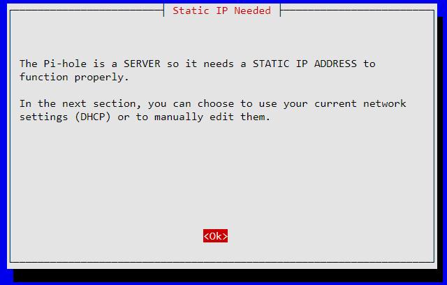 PiHole a besoin d'une adresse IP statique