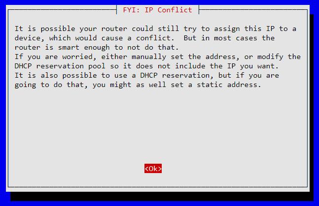 Message d'avertissement de conflit IP