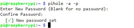 Réinitialiser le mot de passe PiHole
