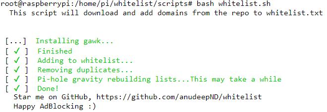 Liste blanche de certains domaines valides sur PiHole