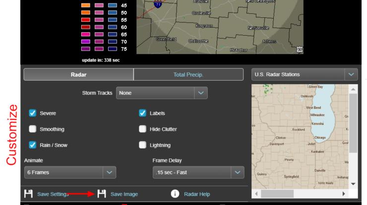 Personnaliser les options pour le radar météorologique animé