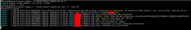 Traefik Docker compose des exemples de journaux - SSL pour mysubdomain.crabdance.com (Afraid.org Dynamic DNS)