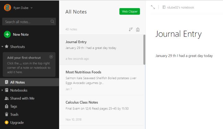IFTTT Google Assistant Ideas - Entrée de journal Evernote
