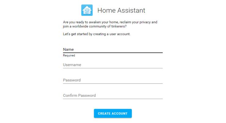 Créer un compte Home Assistant