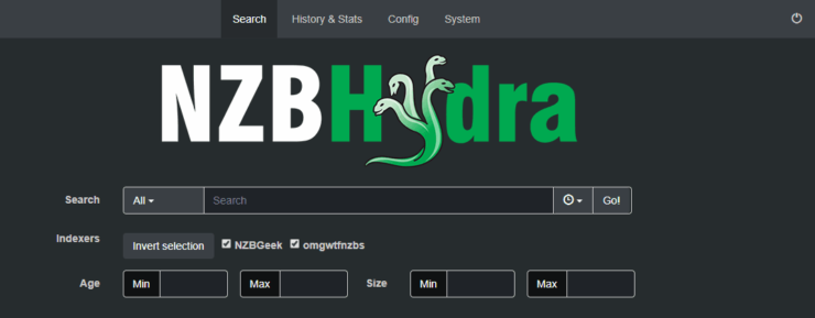Interface Web NZBHydra