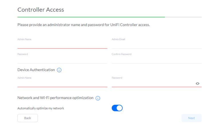 Détails d'accès au contrôleur UniFi