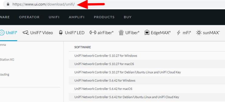 Page de téléchargement du contrôleur UniFi